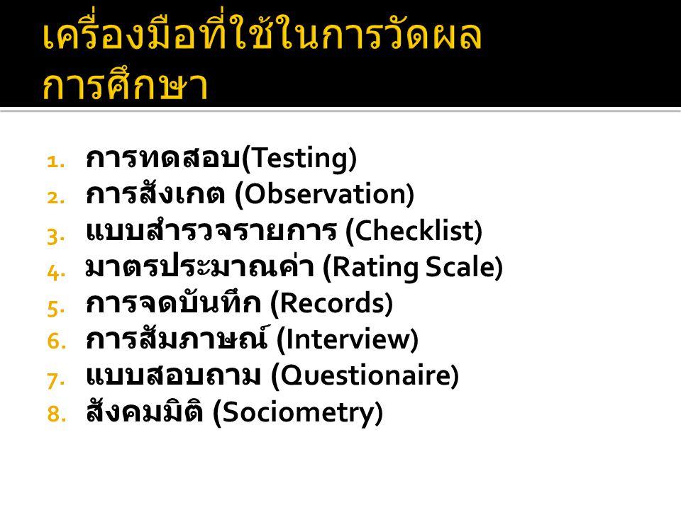 1. การทดสอบ (Testing) 2. การสังเกต (Observation) 3. แบบสำรวจรายการ (Checklist) 4. มาตรประมาณค่า (Rating Scale) 5. การจดบันทึก (Records) 6. การสัมภาษณ์