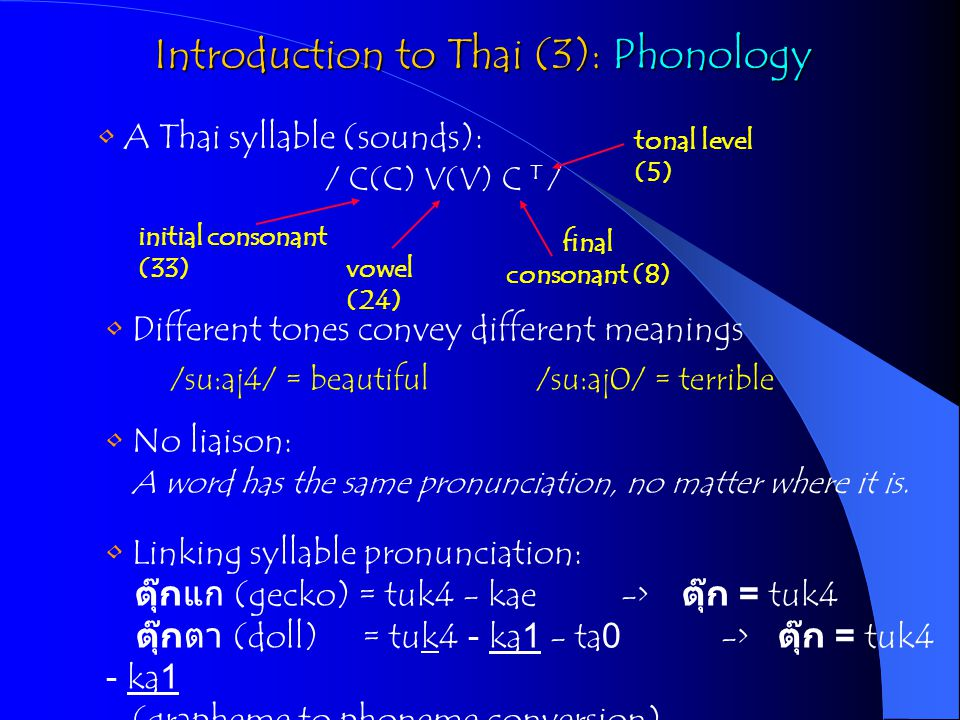 Introduction to Thai (3): Phonology A Thai syllable (sounds): / C(C) V(V) C T / initial consonant (33) vowel (24) final consonant (8) tonal level (5)