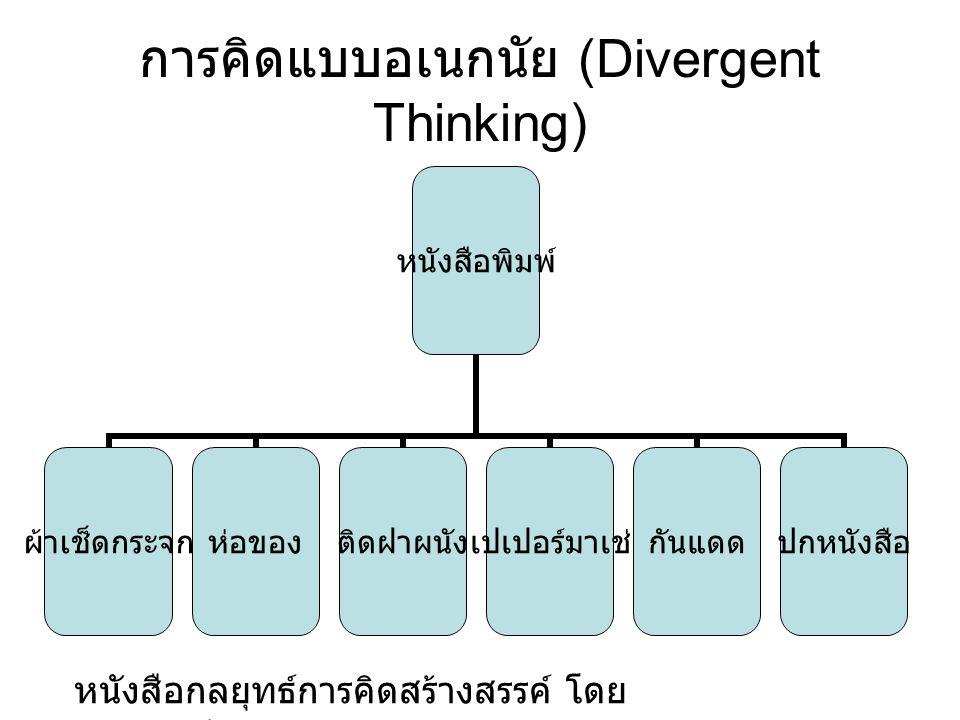 การคิดแบบอเนกนัย (Divergent Thinking) หนังสือพิมพ์ ผ้าเช็ด กระจก ห่อของติดฝาผนังเปเปอร์มาเช่กันแดดปกหนังสือ หนังสือกลยุทธ์การคิดสร้างสรรค์ โดย ดร. สุว