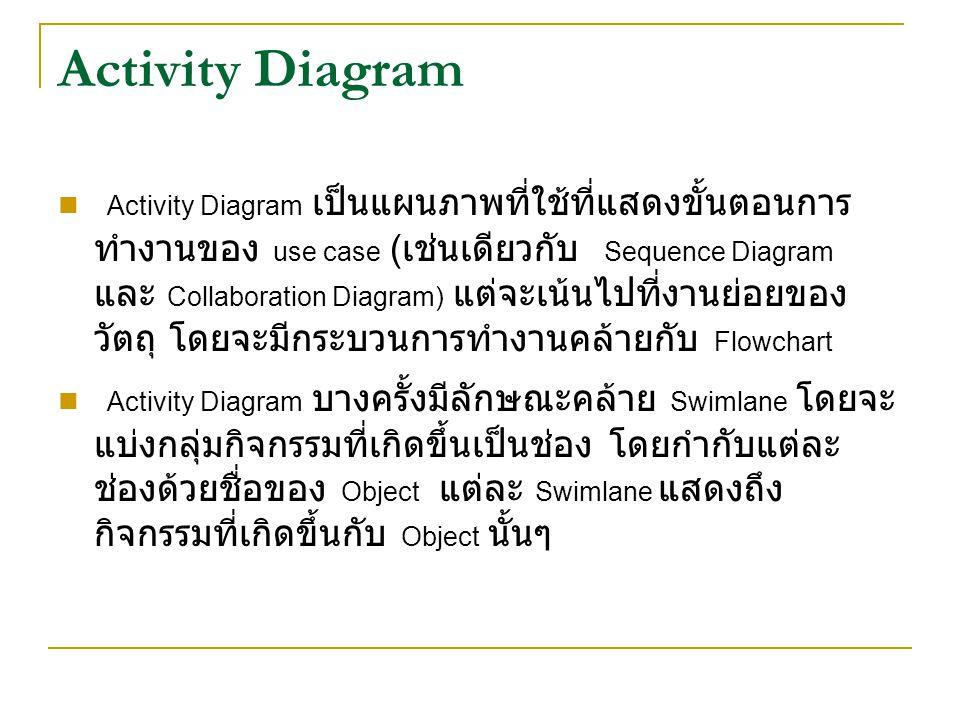 Activity Diagram Activity Diagram เป็นแผนภาพที่ใช้ที่แสดงขั้นตอนการ ทำงานของ use case ( เช่นเดียวกับ Sequence Diagram และ Collaboration Diagram) แต่จะเน้นไปที่งานย่อยของ วัตถุ โดยจะมีกระบวนการทำงานคล้ายกับ Flowchart Activity Diagram บางครั้งมีลักษณะคล้าย Swimlane โดยจะ แบ่งกลุ่มกิจกรรมที่เกิดขึ้นเป็นช่อง โดยกำกับแต่ละ ช่องด้วยชื่อของ Object แต่ละ Swimlane แสดงถึง กิจกรรมที่เกิดขึ้นกับ Object นั้นๆ