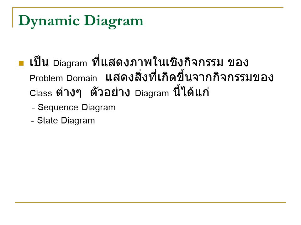 Dynamic Diagram เป็น Diagram ที่แสดงภาพในเชิงกิจกรรม ของ Problem Domain แสดงสิ่งที่เกิดขึ้นจากกิจกรรมของ Class ต่างๆ ตัวอย่าง Diagram นี้ได้แก่ - Sequ