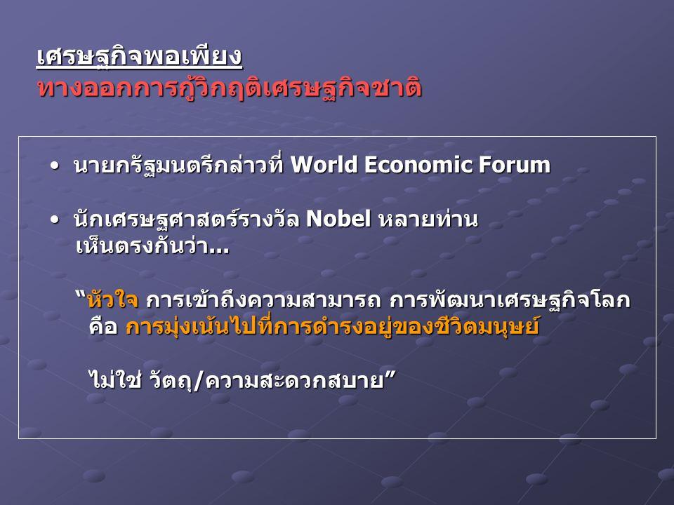 เศรษฐกิจพอเพียงทางออกการกู้วิกฤติเศรษฐกิจชาติ นายกรัฐมนตรีกล่าวที่ World Economic Forum นายกรัฐมนตรีกล่าวที่ World Economic Forum นักเศรษฐศาสตร์รางวัล Nobel หลายท่าน นักเศรษฐศาสตร์รางวัล Nobel หลายท่าน เห็นตรงกันว่า...