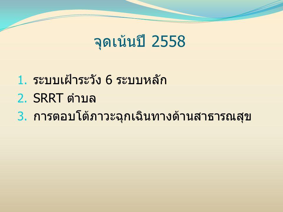 จุดเน้นปี 2558 1. ระบบเฝ้าระวัง 6 ระบบหลัก 2. SRRT ตำบล 3. การตอบโต้ภาวะฉุกเฉินทางด้านสาธารณสุข