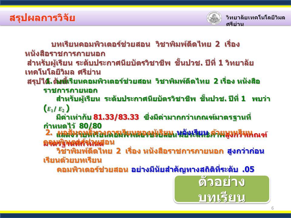 6 สรุปผลการวิจัย วิทยาลัยเทคโนโลยีวิมล ศรีย่าน บทเรียนคอมพิวเตอร์ช่วยสอน วิชาพิมพ์ดีดไทย 2 เรื่อง หนังสือราชการภายนอก บทเรียนคอมพิวเตอร์ช่วยสอน วิชาพิมพ์ดีดไทย 2 เรื่อง หนังสือราชการภายนอก สำหรับผู้เรียน ระดับประกาศนียบัตรวิชาชีพ ชั้นปวช.