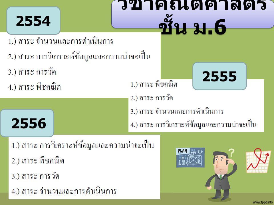 วิชาคณิตศาสตร์ ชั้น ม.6 2554 2555 2556