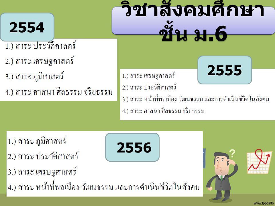 วิชาสังคมศึกษา ชั้น ม.6 2554 2555 2556