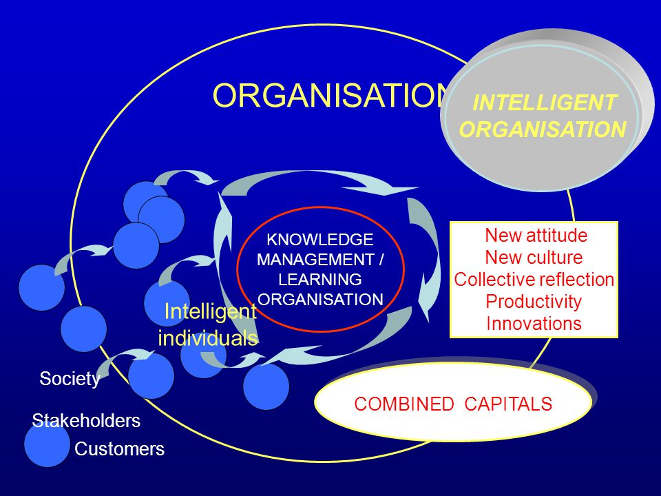 ORGANISATION KNOWLEDGE MANAGEMENT / LEARNING ORGANISATION Intelligent individuals COMBINED CAPITALS Customers Society Stakeholders New attitude New cu