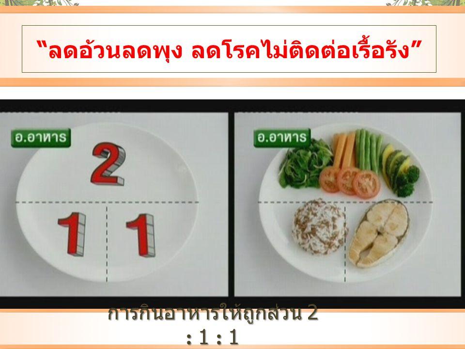 """""""ลดอ้วนลดพุง ลดโรคไม่ติดต่อเรื้อรัง"""" การกินอาหารให้ถูกส่วน 2 : 1 : 1"""