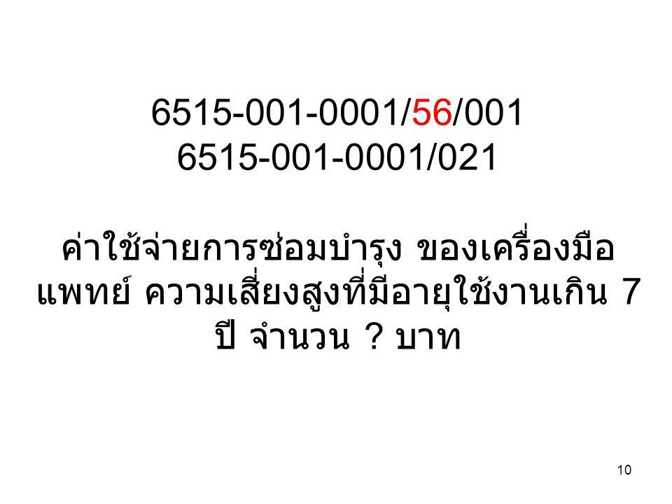 10 6515-001-0001/56/001 6515-001-0001/021 ค่าใช้จ่ายการซ่อมบำรุง ของเครื่องมือ แพทย์ ความเสี่ยงสูงที่มีอายุใช้งานเกิน 7 ปี จำนวน .