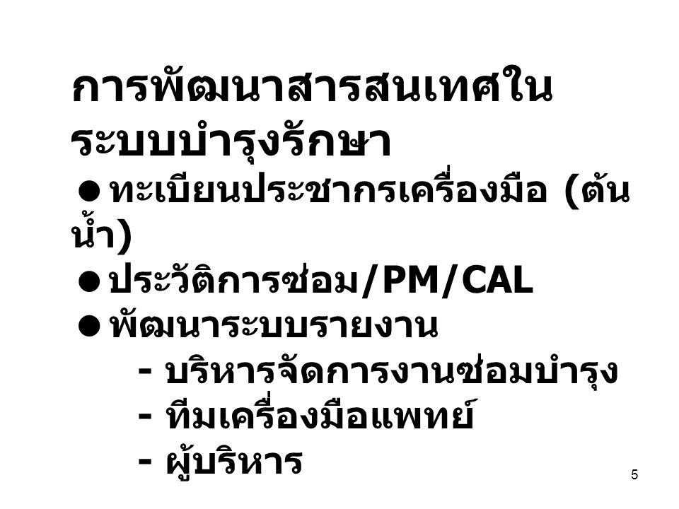 5 การพัฒนาสารสนเทศใน ระบบบำรุงรักษา  ทะเบียนประชากรเครื่องมือ ( ต้น น้ำ )  ประวัติการซ่อม /PM/CAL  พัฒนาระบบรายงาน - บริหารจัดการงานซ่อมบำรุง - ทีมเครื่องมือแพทย์ - ผู้บริหาร