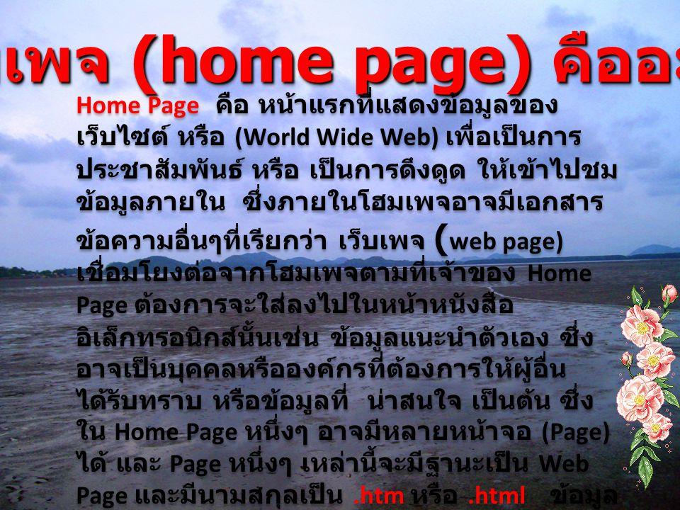 โฮมเพจ (home page) คืออะไร ? Home Page คือ หน้าแรกที่แสดงข้อมูลของ เว็บไซต์ หรือ (World Wide Web) เพื่อเป็นการ ประชาสัมพันธ์ หรือ เป็นการดึงดูด ให้เข้