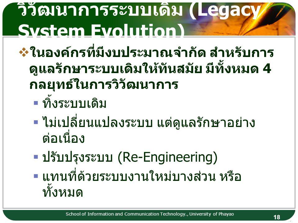 18 วิวัฒนาการระบบเดิม (Legacy System Evolution) School of Information and Communication Technology., University of Phayao  ในองค์กรที่มีงบประมาณจำกัด