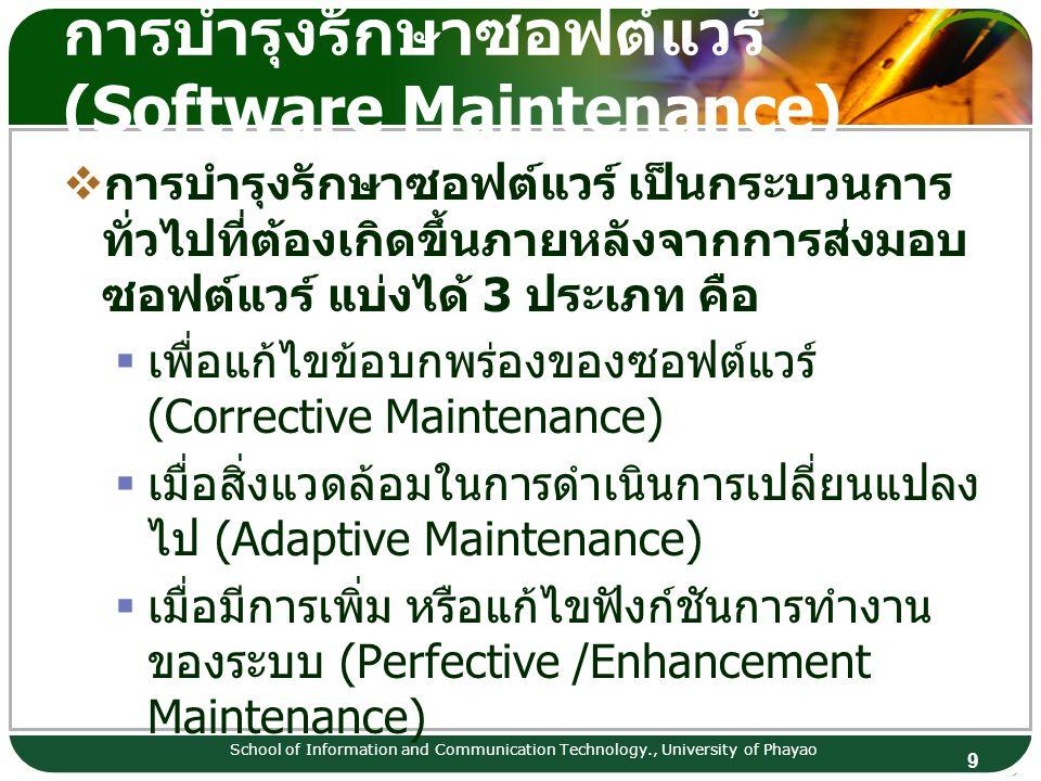 9 การบำรุงรักษาซอฟต์แวร์ (Software Maintenance) School of Information and Communication Technology., University of Phayao  การบำรุงรักษาซอฟต์แวร์ เป็