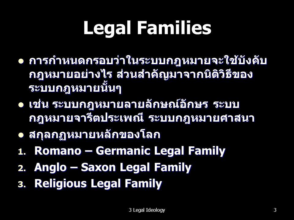 ระบบกฎหมายของไทย การรับอิทธิพลจากระบบกฎหมายต่างๆ การรับอิทธิพลจากระบบกฎหมายต่างๆ เช่น กฎหมายของพระมนูจากอินเดีย เช่น กฎหมายของพระมนูจากอินเดีย อิทธิพลของศาสนาต่อการบัญญัติและใช้บังคับ กฎหมาย อิทธิพลของศาสนาต่อการบัญญัติและใช้บังคับ กฎหมาย Legal Transplantation – การรับเอากฎหมาย จากสังคมอื่น มาใช้ในสังคมของเรา Legal Transplantation – การรับเอากฎหมาย จากสังคมอื่น มาใช้ในสังคมของเรา ที่ไม่สมัครใจ เช่น เกิดจากการเป็นเมืองขึ้นของ ประเทศอื่น ที่ไม่สมัครใจ เช่น เกิดจากการเป็นเมืองขึ้นของ ประเทศอื่น และทั้งที่สมัครใจ เช่น เพื่อต้องการติดต่อการค้า กับประเทศนั้นๆ และทั้งที่สมัครใจ เช่น เพื่อต้องการติดต่อการค้า กับประเทศนั้นๆ 43 Legal Ideology