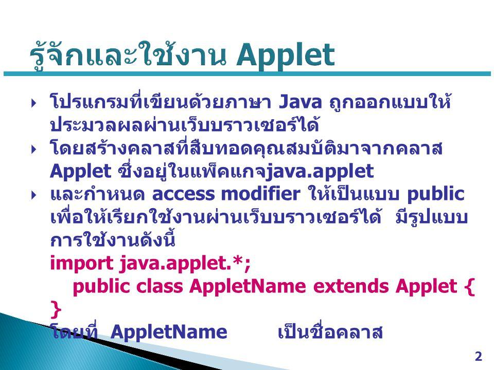  โปรแกรมที่เขียนด้วยภาษา Java ถูกออกแบบให้ ประมวลผลผ่านเว็บบราวเซอร์ได้  โดยสร้างคลาสที่สืบทอดคุณสมบัติมาจากคลาส Applet ซึ่งอยู่ในแพ็คแกจ java.apple