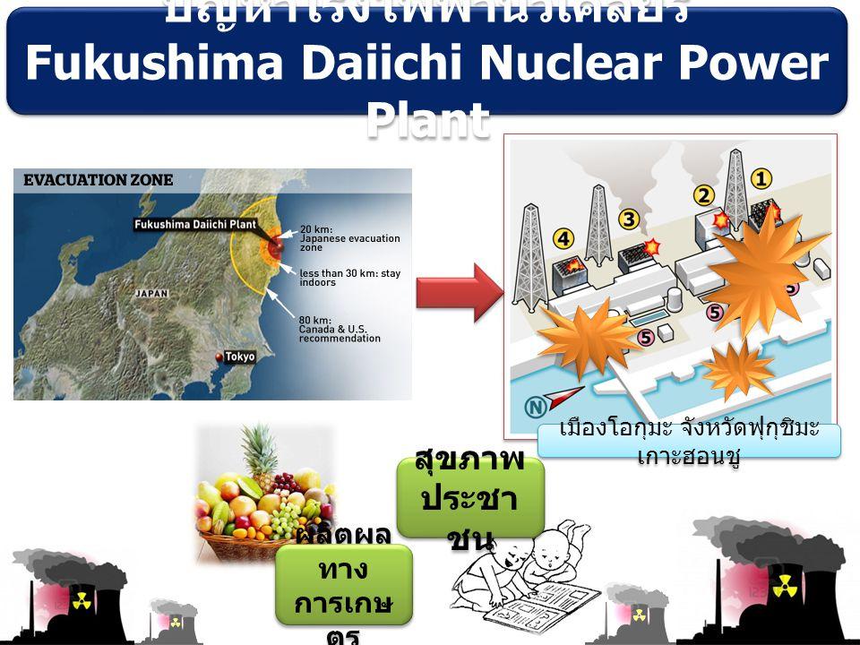 ผลิตผล ทาง การเกษ ตร ปัญหาโรงไฟฟ้านิวเคลียร์ Fukushima Daiichi Nuclear Power Plant ปัญหาโรงไฟฟ้านิวเคลียร์ Fukushima Daiichi Nuclear Power Plant เมืองโอกุมะ จังหวัดฟุกุชิมะ เกาะฮอนชู สุขภาพ ประชา ชน