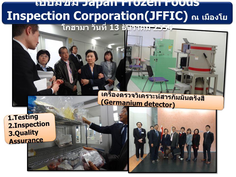 1.Testing 2.Inspection 3.Quality Assurance 1.Testing 2.Inspection 3.Quality Assurance เครื่องตรวจวิเคราะห์สารกัมมันตรังสี (Germanium detector) เยี่ยมชม Japan Frozen Foods Inspection Corporation(JFFIC) ณ เมืองโย โกฮามา วันที่ 13 ธันวาคม 2554