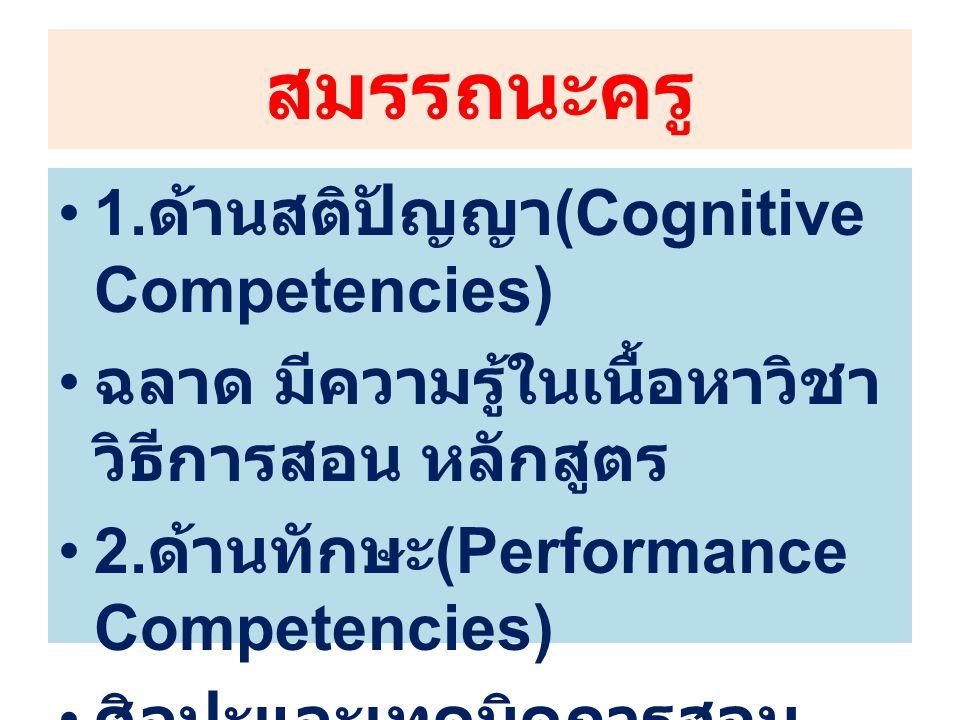 สมรรถนะครู 1. ด้านสติปัญญา (Cognitive Competencies) ฉลาด มีความรู้ในเนื้อหาวิชา วิธีการสอน หลักสูตร 2. ด้านทักษะ (Performance Competencies) ศิลปะและเท