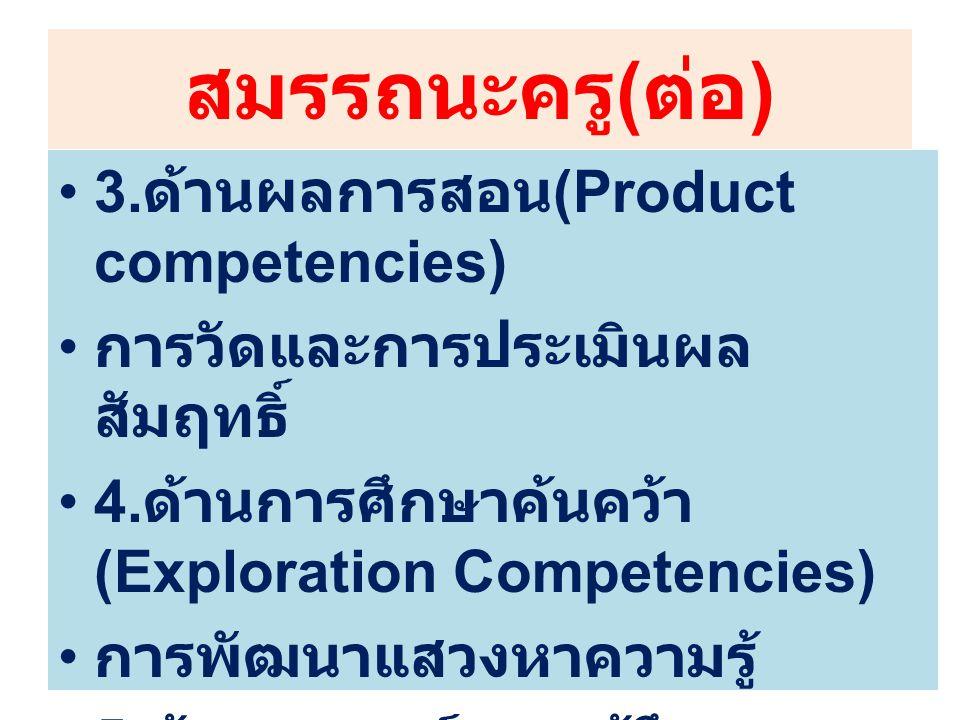 สมรรถนะครู ( ต่อ ) 3. ด้านผลการสอน (Product competencies) การวัดและการประเมินผล สัมฤทธิ์ 4. ด้านการศึกษาค้นคว้า (Exploration Competencies) การพัฒนาแสว