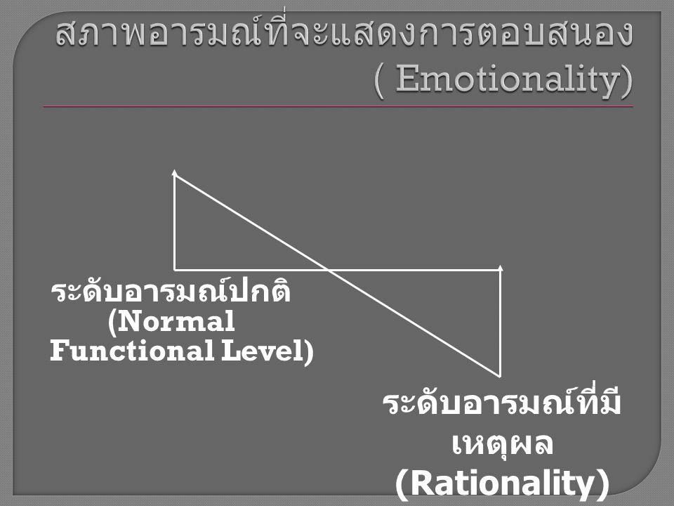 ระดับอารมณ์ปกติ (Normal Functional Level) ระดับอารมณ์ที่มี เหตุผล (Rationality)