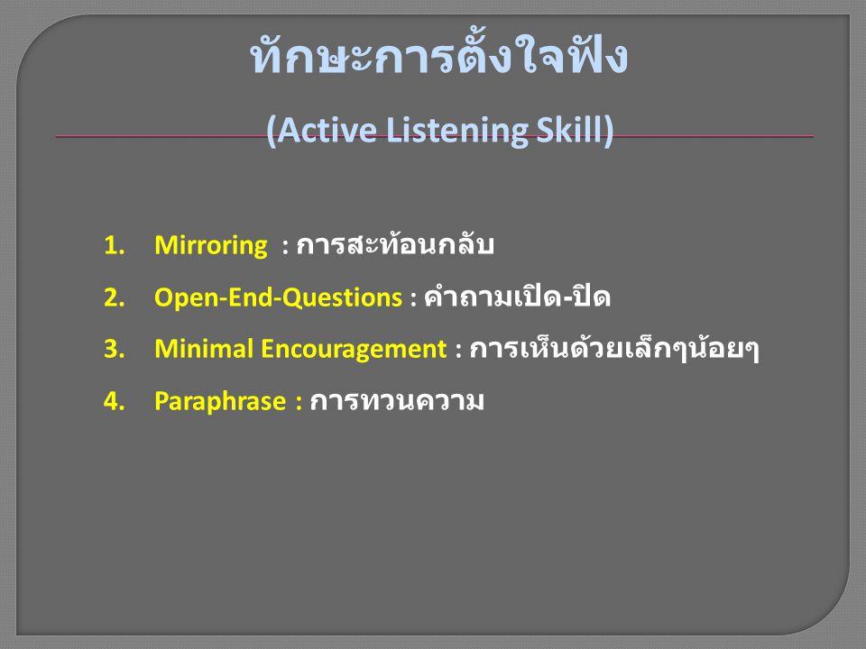 1.Mirroring : การสะท้อนกลับ 2.Open-End-Questions : คำถามเปิด - ปิด 3.Minimal Encouragement : การเห็นด้วยเล็กๆน้อยๆ 4.Paraphrase : การทวนความ ทักษะการต