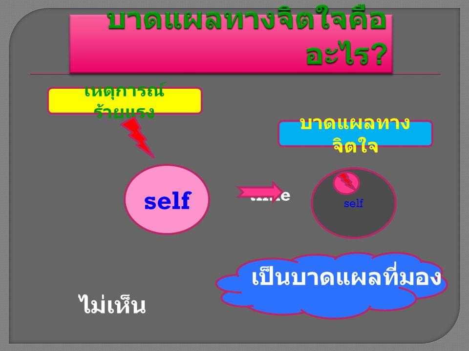 self time เป็นบาดแผลที่มอง ไม่เห็น เหตุการณ์ ร้ายแรง บาดแผลทาง จิตใจ self
