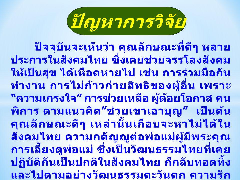 ปัญหาการวิจัย ปัจจุบันจะเห็นว่า คุณลักษณะที่ดีๆ หลาย ประการในสังคมไทย ซึ่งเคยช่วยจรรโลงสังคม ให้เป็นสุข ได้เหือดหายไป เช่น การร่วมมือกัน ทำงาน การไม่ก