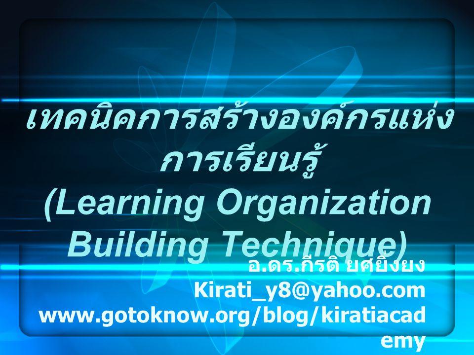 เทคนิคการสร้างองค์กรแห่ง การเรียนรู้ (Learning Organization Building Technique) อ. ดร. กีรติ ยศยิ่งยง Kirati_y8@yahoo.com www.gotoknow.org/blog/kirati