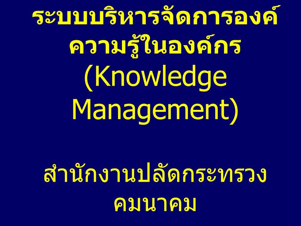 ระบบบริหารจัดการองค์ ความรู้ในองค์กร (Knowledge Management) สำนักงานปลัดกระทรวง คมนาคม