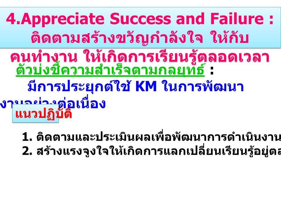 4.Appreciate Success and Failure : ติดตามสร้างขวัญกำลังใจ ให้กับ คนทำงาน ให้เกิดการเรียนรู้ตลอดเวลา ตัวบ่งชี้ความสำเร็จตามกลยุทธ์ : มีการประยุกต์ใช้ KM ในการพัฒนา งานอย่างต่อเนื่อง 1.