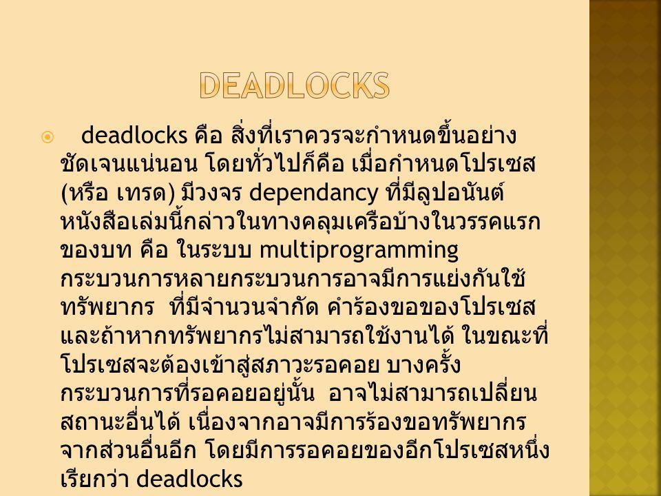  deadlocks คือ สิ่งที่เราควรจะกำหนดขึ้นอย่าง ชัดเจนแน่นอน โดยทั่วไปก็คือ เมื่อกำหนดโปรเซส ( หรือ เทรด ) มีวงจร dependancy ที่มีลูปอนันต์ หนังสือเล่มนี้กล่าวในทางคลุมเครือบ้างในวรรคแรก ของบท คือ ในระบบ multiprogramming กระบวนการหลายกระบวนการอาจมีการแย่งกันใช้ ทรัพยากร ที่มีจำนวนจำกัด คำร้องขอของโปรเซส และถ้าหากทรัพยากรไม่สามารถใช้งานได้ ในขณะที่ โปรเซสจะต้องเข้าสู่สภาวะรอคอย บางครั้ง กระบวนการที่รอคอยอยู่นั้น อาจไม่สามารถเปลี่ยน สถานะอื่นได้ เนื่องจากอาจมีการร้องขอทรัพยากร จากส่วนอื่นอีก โดยมีการรอคอยของอีกโปรเซสหนึ่ง เรียกว่า deadlocks