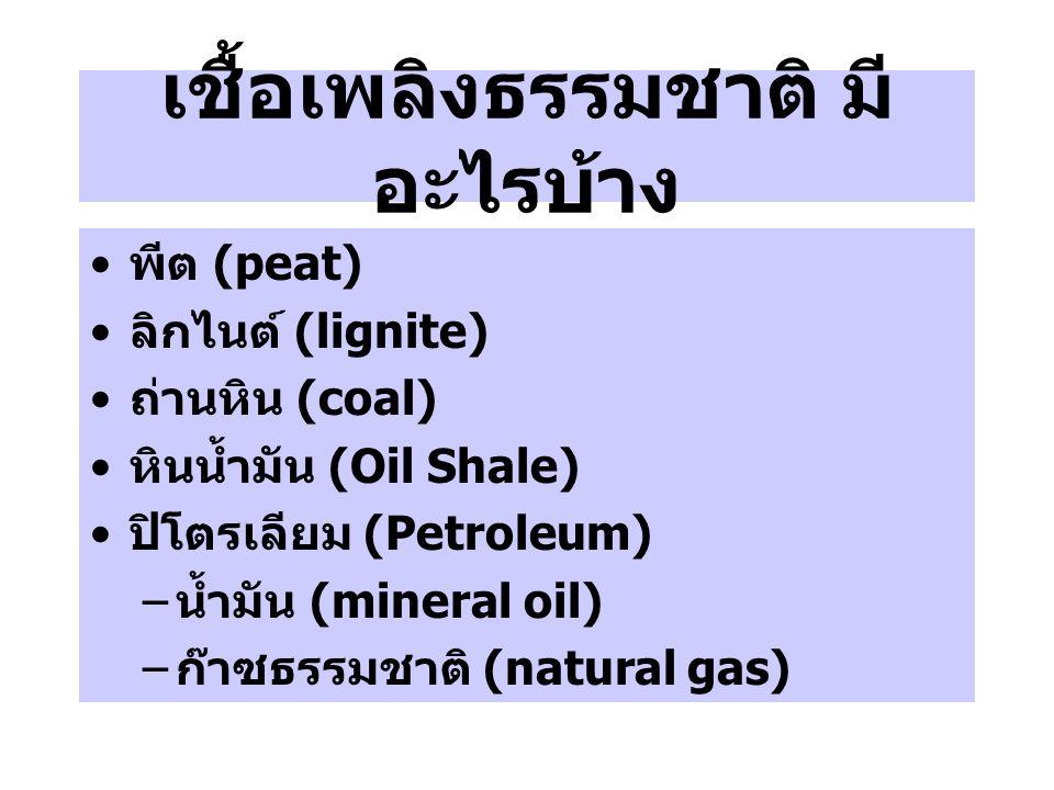 เชื้อเพลิงธรรมชาติ มี อะไรบ้าง พีต (peat) ลิกไนต์ (lignite) ถ่านหิน (coal) หินน้ำมัน (Oil Shale) ปิโตรเลียม (Petroleum) – น้ำมัน (mineral oil) – ก๊าซธ