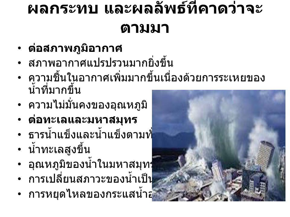 ผลกระทบ และผลลัพธ์ที่คาดว่าจะ ตามมา ต่อมนุษย์ เกิดการขาดแคลนน้ำดื่ม เกิดการอพยพย้ายที่อยู่อาศัยเนื่องจากโดนน้ำท่วม เกิดโรคร้ายเพิ่มขึ้น การแก้ปัญหา ใช้อุปกรณ์ที่มีคุณภาพ ไม่กินพลังงานไฟฟ้า ใช้หลอดไฟ LED ช่วยประหยัดพลังงานได้ 40% ใช้น้ำอย่างรู้คุณค่า ควบคุมการเกิดของประชากรที่เพิ่มขึ้นอย่างรวดเร็วทำให้ต้อง ใช้พลังงานมากขึ้น แยกขยะ นำของเก่ามาใช้ใหม่ได้ ใช้รถยนต์ประหยัดพลังงาน