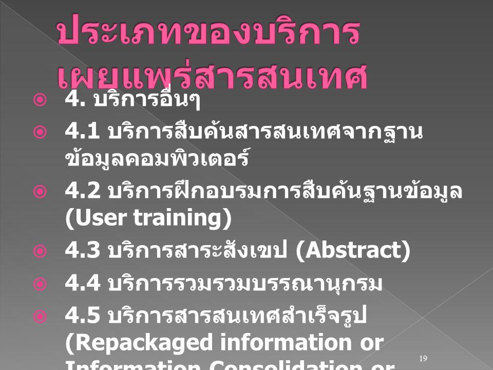  4. บริการอื่นๆ  4.1 บริการสืบค้นสารสนเทศจากฐาน ข้อมูลคอมพิวเตอร์  4.2 บริการฝึกอบรมการสืบค้นฐานข้อมูล (User training)  4.3 บริการสาระสังเขป (Abst