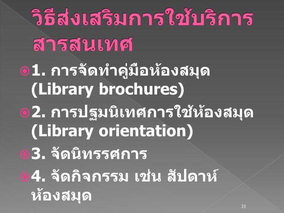  1. การจัดทำคู่มือห้องสมุด (Library brochures)  2. การปฐมนิเทศการใช้ห้องสมุด (Library orientation)  3. จัดนิทรรศการ  4. จัดกิจกรรม เช่น สัปดาห์ ห้