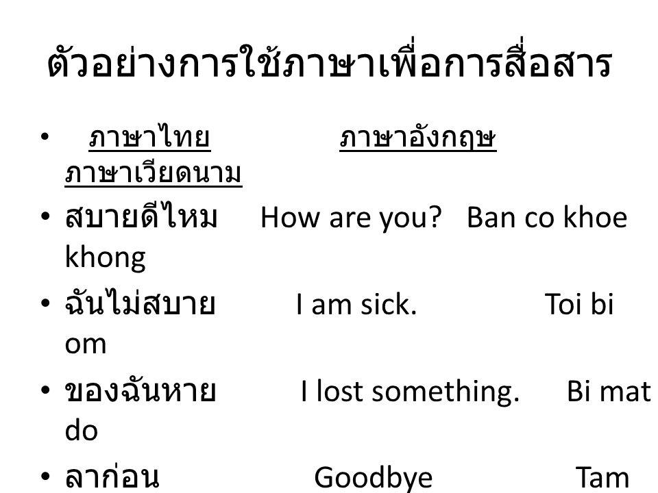 ตัวอย่างการใช้ภาษาเพื่อการสื่อสาร ภาษาไทย ภาษาอังกฤษ ภาษาเวียดนาม สบายดีไหม How are you? Ban co khoe khong ฉันไม่สบาย I am sick. Toi bi om ของฉันหาย I