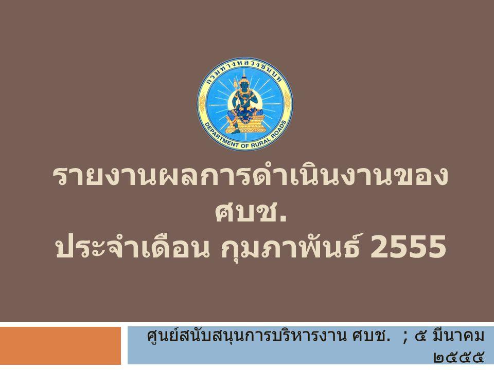 รายงานผลการดำเนินงานของ ศบช. ประจำเดือน กุมภาพันธ์ 2555 ศูนย์สนับสนุนการบริหารงาน ศบช.
