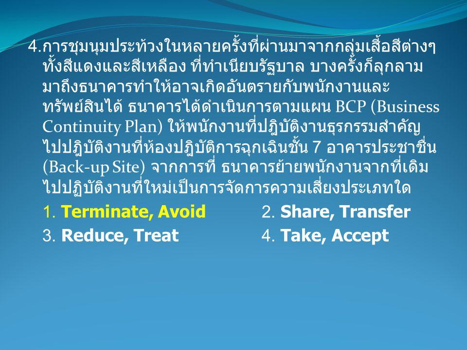4. การชุมนุมประท้วงในหลายครั้งที่ผ่านมาจากกลุ่มเสี้อสีต่างๆ ทั้งสีแดงและสีเหลือง ที่ทำเนียบรัฐบาล บางครั้งก็ลุกลาม มาถึงธนาคารทำให้อาจเกิดอันตรายกับพน