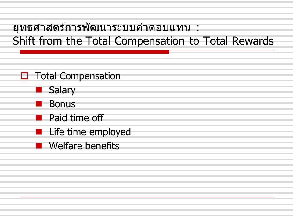 ยุทธศาสตร์การพัฒนาระบบค่าตอบแทน : Shift from the Total Compensation to Total Rewards  Total Compensation Salary Bonus Paid time off Life time employe