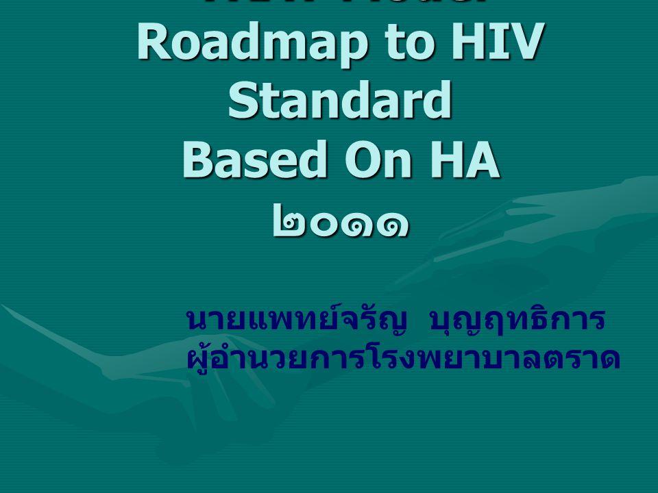 TRAT Model Roadmap to HIV Standard Based On HA ๒๐๑๑ นายแพทย์จรัญ บุญฤทธิการ ผู้อำนวยการโรงพยาบาลตราด