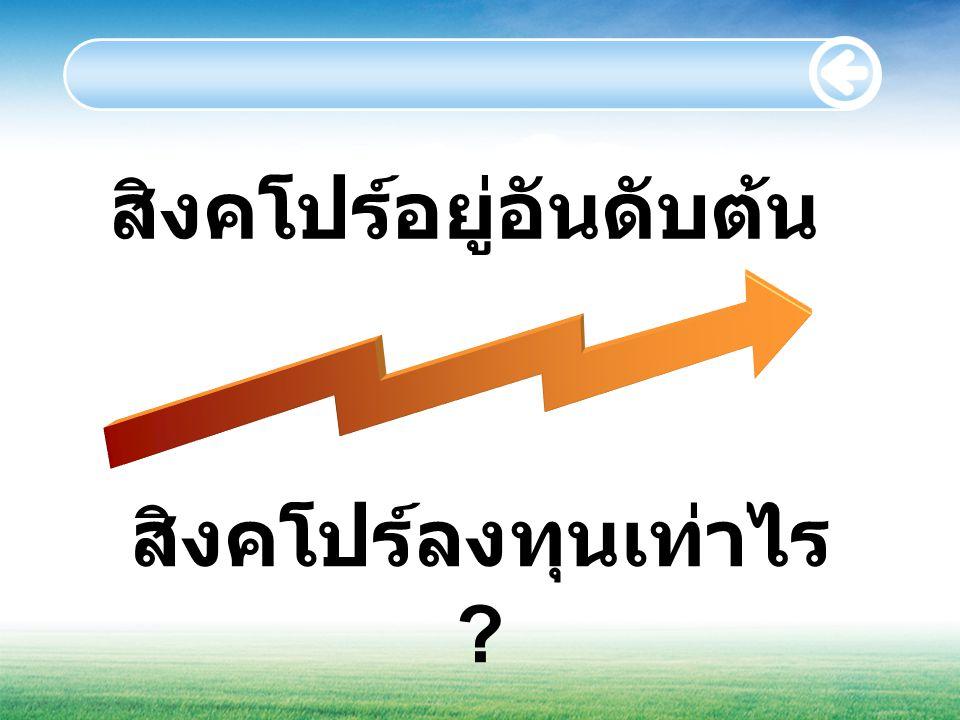 สิงคโปร์อยู่อันดับต้น สิงคโปร์ลงทุนเท่าไร ?