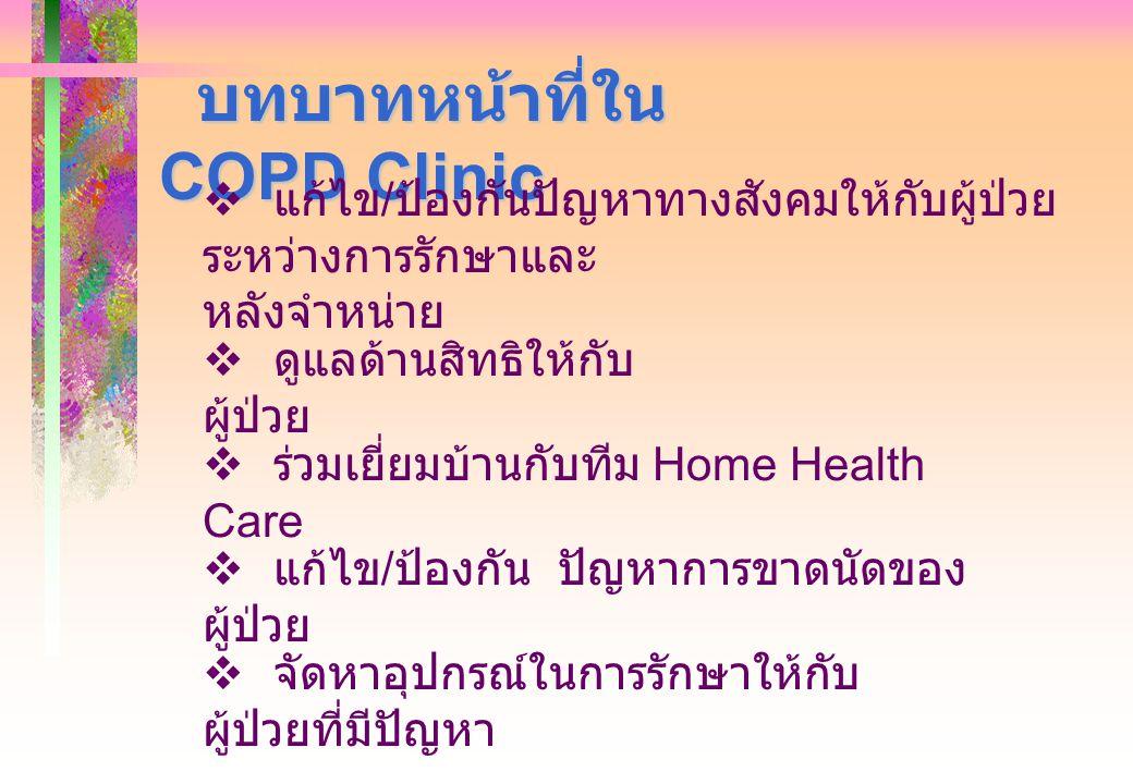 บทบาทหน้าที่ใน COPD Clinic บทบาทหน้าที่ใน COPD Clinic  แก้ไข / ป้องกันปัญหาทางสังคมให้กับผู้ป่วย ระหว่างการรักษาและ หลังจำหน่าย  ดูแลด้านสิทธิให้กับ