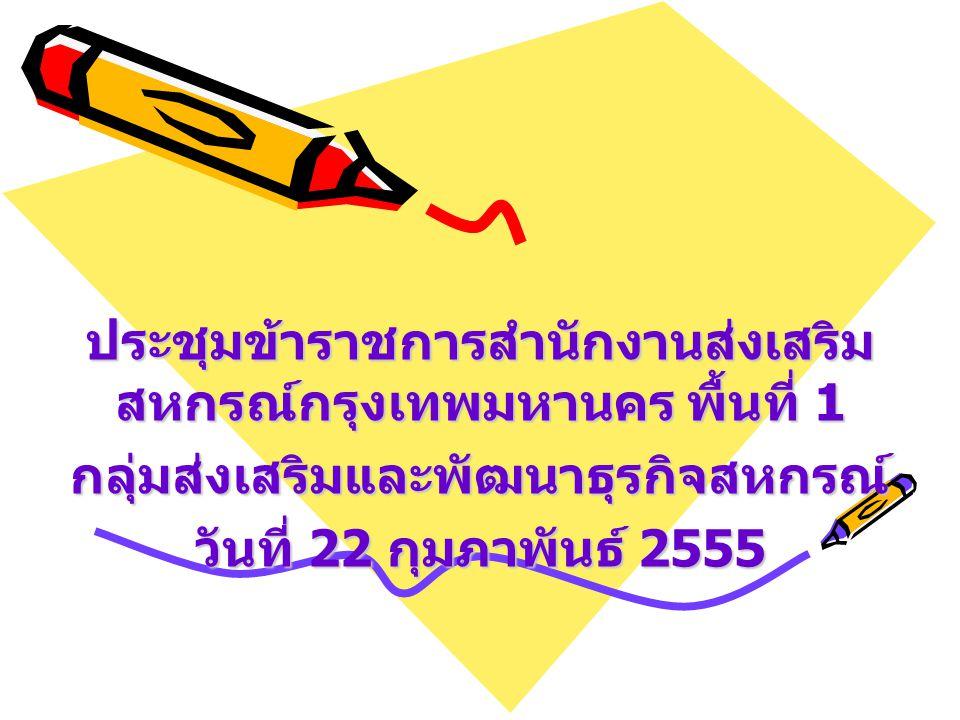 ประชุมข้าราชการสำนักงานส่งเสริม สหกรณ์กรุงเทพมหานคร พื้นที่ 1 กลุ่มส่งเสริมและพัฒนาธุรกิจสหกรณ์ วันที่ 22 กุมภาพันธ์ 2555
