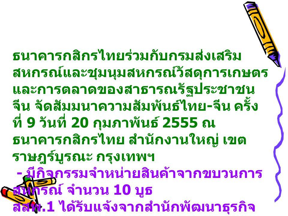 ธนาคารกสิกรไทยร่วมกับกรมส่งเสริม สหกรณ์และชุมนุมสหกรณ์วัสดุการเกษตร และการตลาดของสาธารณรัฐประชาชน จีน จัดสัมมนาความสัมพันธ์ไทย - จีน ครั้ง ที่ 9 วันที่ 20 กุมภาพันธ์ 2555 ณ ธนาคารกสิกรไทย สำนักงานใหญ่ เขต ราษฎร์บูรณะ กรุงเทพฯ - มีกิจกรรมจำหน่ายสินค้าจากขบวนการ สหกรณ์ จำนวน 10 บูธ สสพ.1 ได้รับแจ้งจากสำนักพัฒนาธุรกิจ สหกรณ์ ให้ส่งกลุ่มอาชีพเข้าร่วมจำหน่าย สินค้า จำนวน 1 กลุ่ม ได้แก่ กลุ่มอาชีพผู้ปลูกผักปลอดภัยจาก สารพิษบางแคเหนือ
