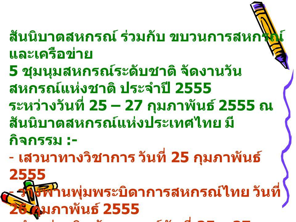 สันนิบาตสหกรณ์ ร่วมกับ ขบวนการสหกรณ์ และเครือข่าย 5 ชุมนุมสหกรณ์ระดับชาติ จัดงานวัน สหกรณ์แห่งชาติ ประจำปี 2555 ระหว่างวันที่ 25 – 27 กุมภาพันธ์ 2555 ณ สันนิบาตสหกรณ์แห่งประเทศไทย มี กิจกรรม :- - เสวนาทางวิชาการ วันที่ 25 กุมภาพันธ์ 2555 - วางพานพุ่มพระบิดาการสหกรณ์ไทย วันที่ 26 กุมภาพันธ์ 2555 - จำหน่ายสินค้าสหกรณ์ วันที่ 25 – 27 กุมภาพันธ์ 2555 สสพ.1 แจ้งรายชื่อกลุ่มอาชีพเข้าร่วม จำหน่ายสินค้า 3 กลุ่ม  กลุ่มแม่บ้านเกษตรกรหนองแขม  กลุ่มแม่บ้าน เกษตรกรสุภัทรภิบาล  สมาชิกร้านสหกรณ์หนองแขม กลุ่มผ้าปูที่นอน