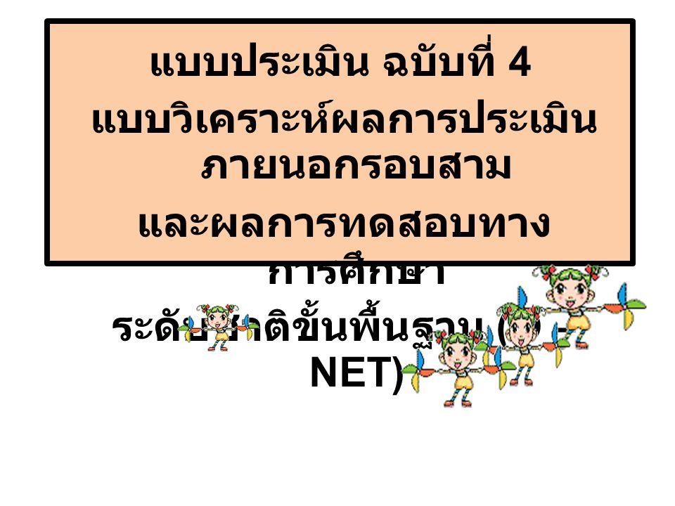 แบบประเมินฉบับที่ 4 ประกอบด้วย  ส่วนที่ 1 ผลการประเมิน ภายนอกรอบสาม  ส่วนที่ 2 ผลการทดสอบ ระดับชาติ ขั้นพื้นฐาน (O-NET) ของ โรงเรียน