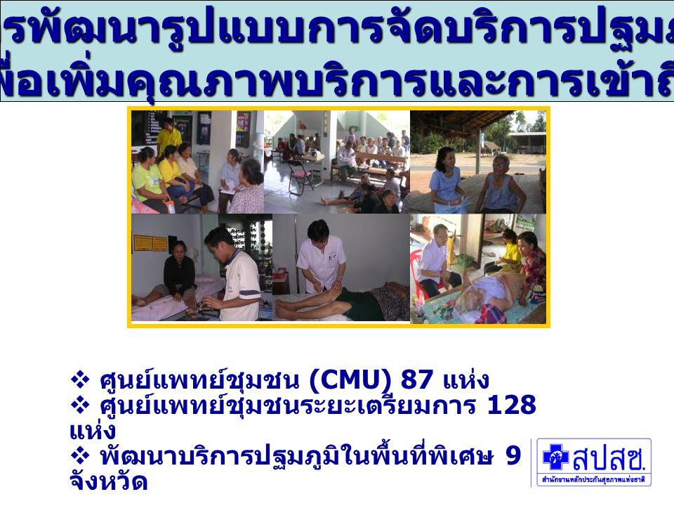  ศูนย์แพทย์ชุมชน (CMU) 87 แห่ง  ศูนย์แพทย์ชุมชนระยะเตรียมการ 128 แห่ง  พัฒนาบริการปฐมภูมิในพื้นที่พิเศษ 9 จังหวัด การพัฒนารูปแบบการจัดบริการปฐมภูมิ