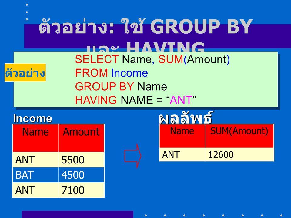 """ตัวอย่าง : ใช้ GROUP BY และ HAVING SELECT Name, SUM(Amount) FROM Income GROUP BY Name HAVING NAME = """"ANT"""" SELECT Name, SUM(Amount) FROM Income GROUP B"""