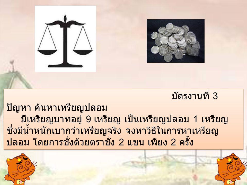 บัตรงานที่ 3 ปัญหา ค้นหาเหรียญปลอม มีเหรียญบาทอยู่ 9 เหรียญ เป็นเหรียญปลอม 1 เหรียญ ซึ่งมีน้ำหนักเบากว่าเหรียญจริง จงหาวิธีในการหาเหรียญ ปลอม โดยการชั