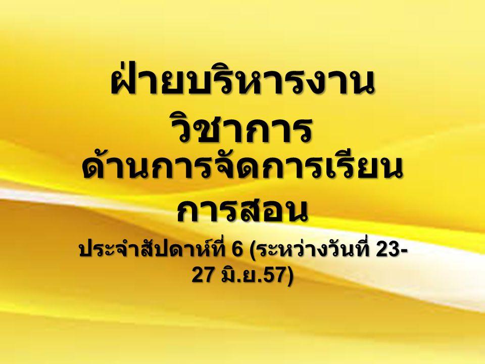 ฝ่ายบริหารงาน วิชาการ ด้านการจัดการเรียน การสอน ประจำสัปดาห์ที่ 6 ( ระหว่างวันที่ 23- 27 มิ. ย.57)
